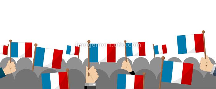 手持ち国旗 集団・群衆イラスト ( 愛国心・イベント・お祝い ・デモ) / フランスの販売画像