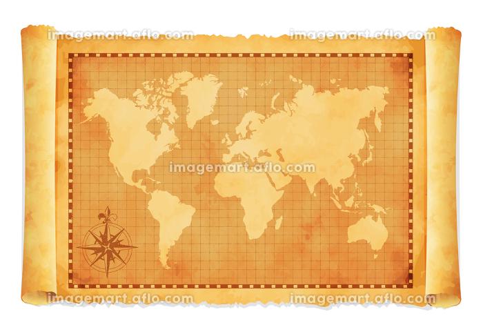 色褪せて丸まった古地図ベクターイラスト / 世界地図の販売画像
