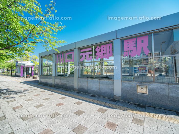新緑の街路樹と快晴の川口元郷駅前の風景 5月の販売画像