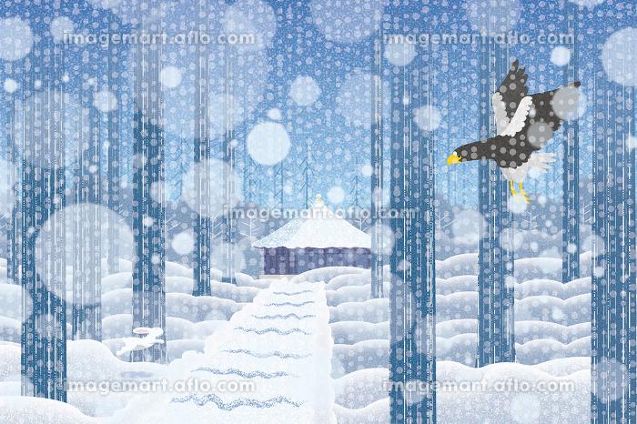 雪景色の中尊寺 イラストの販売画像