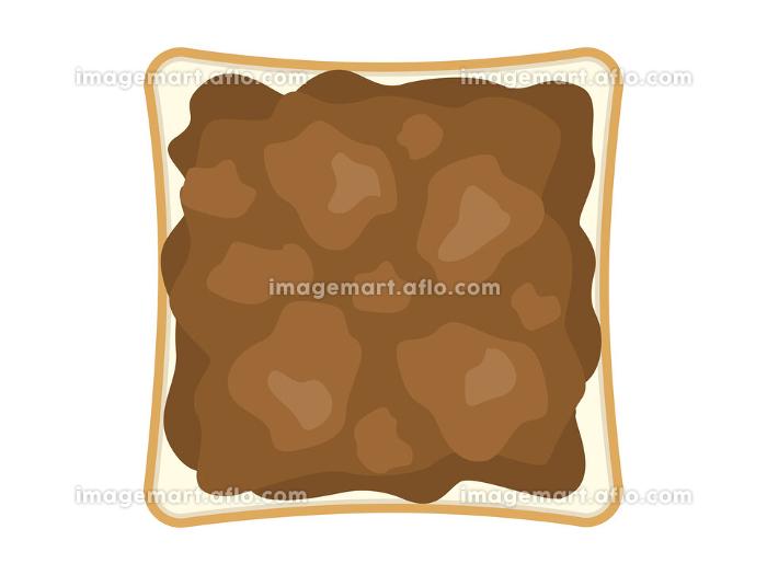 チョコレートをぬった食パンのイラストの販売画像