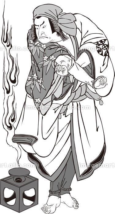 浮世絵 歌舞伎役者 その60 白黒の販売画像