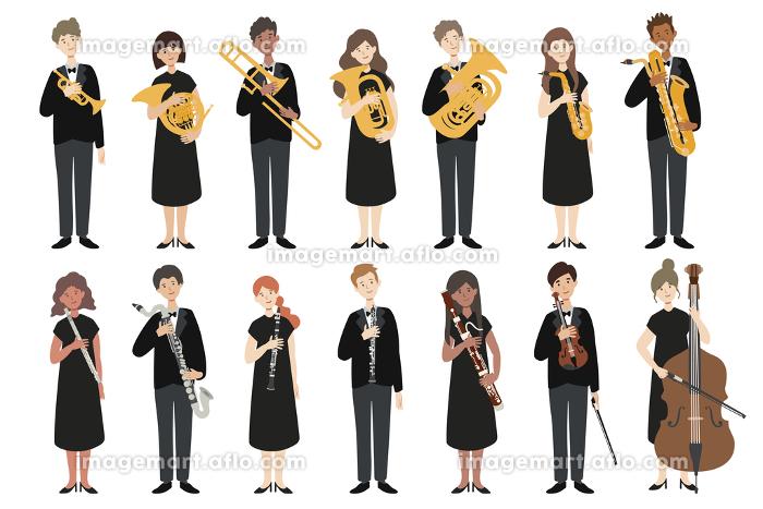 楽器を持った男女の演奏家たちの販売画像