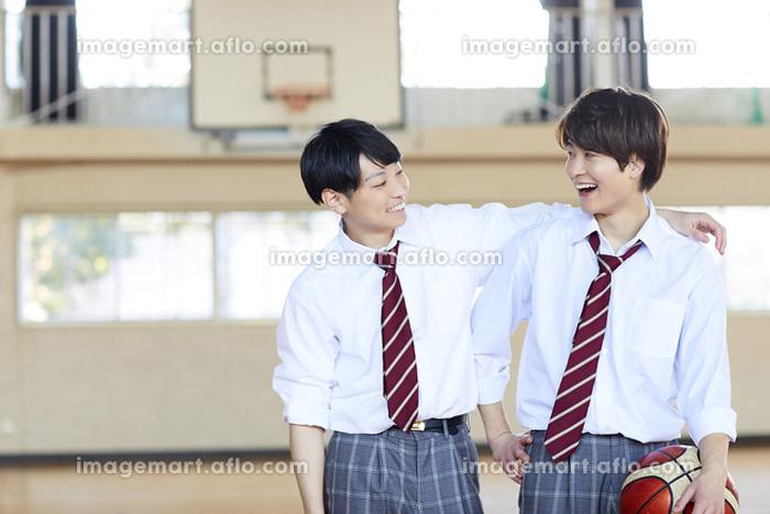 肩を組む日本人男子高校生の販売画像