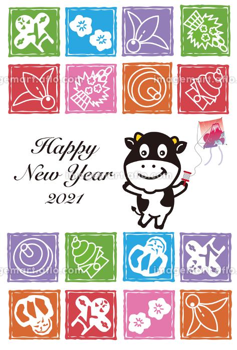 丑年の牛の凧揚げのカラフルな年賀状の販売画像