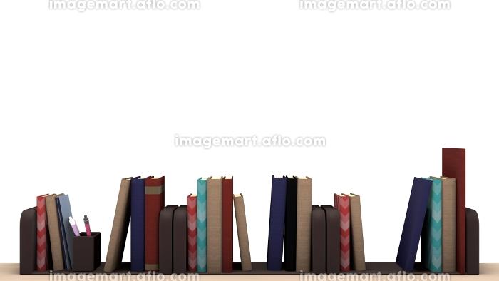 机の上にたくさんの本が並んでいる 3DCGの販売画像