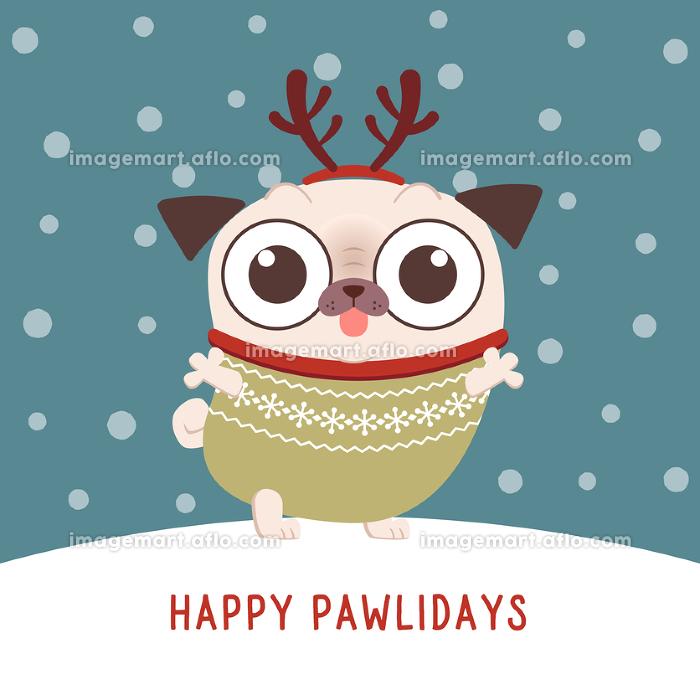 パグキャラクターのクリスマスカードデザインの販売画像