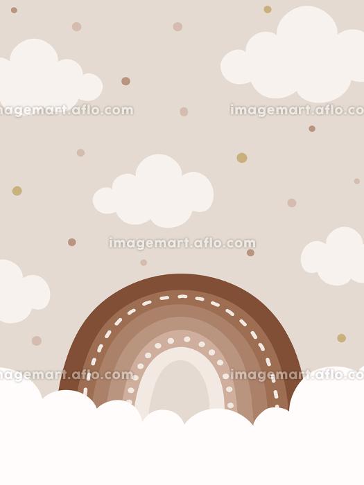 ナチュラルトーンの虹と雲の背景、縦型バナー素材の販売画像