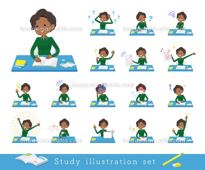 勉強に関する黒人ビジネス女性のセットの販売画像