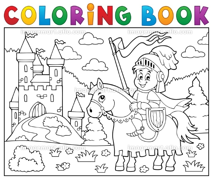 Coloring book knight on horse by castleの販売画像
