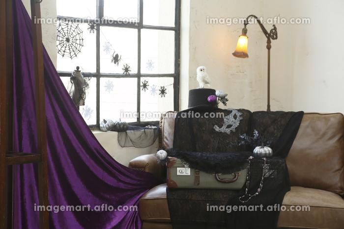 クールなハロウィンの飾り付けがされた部屋の販売画像