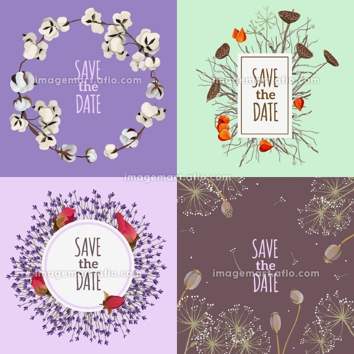 Save The Date 2x2 Design Concept. Save the date 2x2 design concept with four  printable wedding cards with compositions of dry flowers flat vector illustration