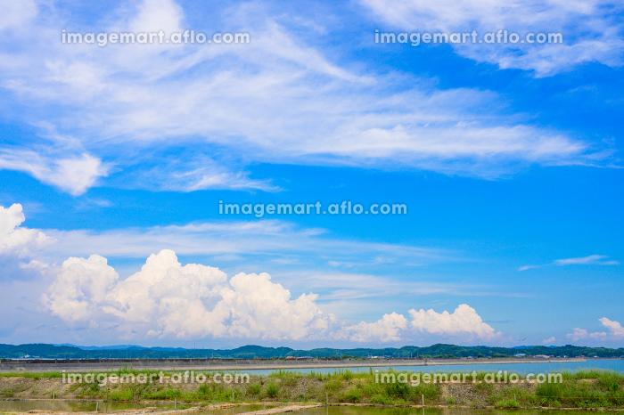 夏の青空と入道雲の販売画像
