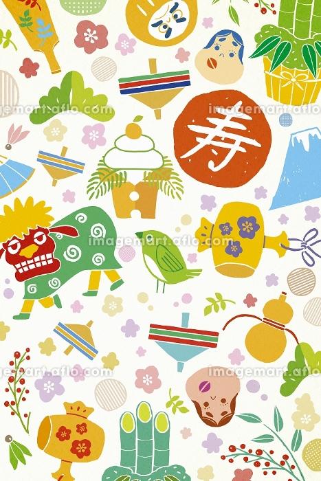 獅子舞や鏡餅の正月アイテム イラストの販売画像