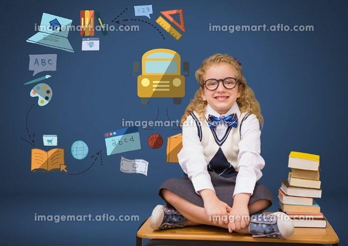 Young girl with books and education graphic drawingsの販売画像