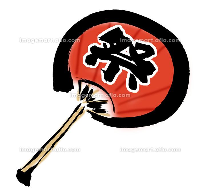 手描きイラスト素材 うちわ ウチワ 団扇 夏 祭 赤の販売画像