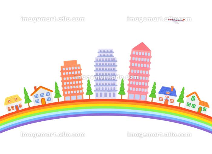 虹とマンションと家並みの販売画像