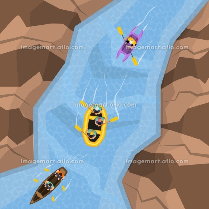 Rafting On River Top View. Rafting on river top view with three different boats following each other vector illustrationの販売画像